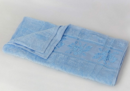 Полотенце махровое ТМ Arya Микрокоттон Lauren голубое