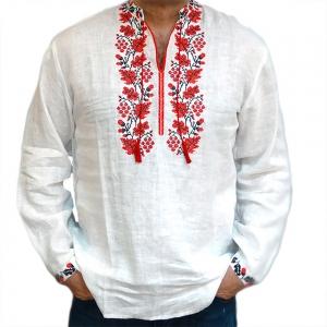 Вышиванка мужская Дубок белая с красной вышивкой 2002
