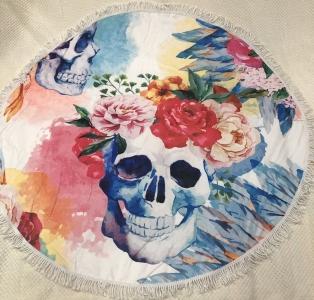 Пляжное полотенце круглое ТМ Еко-тех Череп 150х150