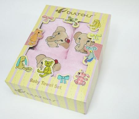Набор полотенец для купания Bulteks Bebek 3' детский Слоник розовый
