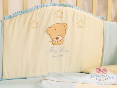 Бортик в кроватку с простыней ТМ Маленькая Соня Tiny Love голубой