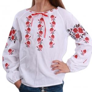 Вышиванка для девочки Роза рушнык, красная вышивка 4009
