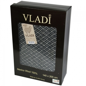 Плед шерстяной ТМ Vladi Шарм Лайт коричневый 140х200 см подарочная коробка