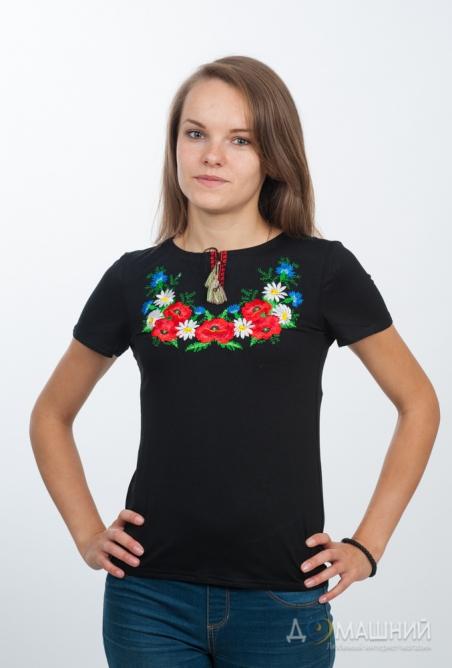 Вышитая футболка Цветочный веночек черная 1739