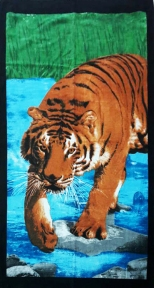 Полотенце велюровое пляжное Турция Тигр 75х150 см