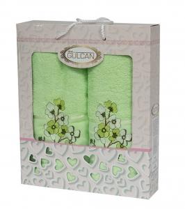 Набор полотенец из хлопка ТМ Gulcan 2 шт Cotton Flowers Light Green