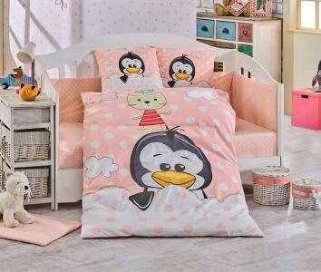 Детский постельный комплект ТМ Hobby Penguin персиковый