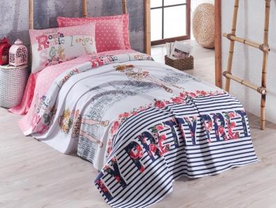 Подростковое постельное бельё Пике с покрывалом ТМ Eponj Home ранфорс Pretty Pembe