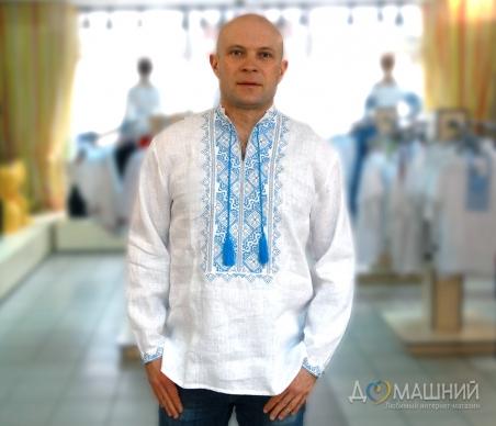 Вышиванка мужская белая с голубой вышивкой 2004.1