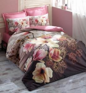 Постельное белье ТМ Cotton Box ранфорс Magnolia Kahve евро-размер