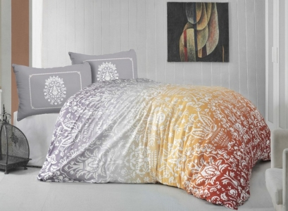 Постельное белье ТМ Altinbasak ранфорс Vizyon turuncu евро-размер