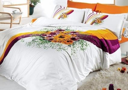 Постельное белье ТМ First Choice сатин-люкс Buket oranj евро-размер