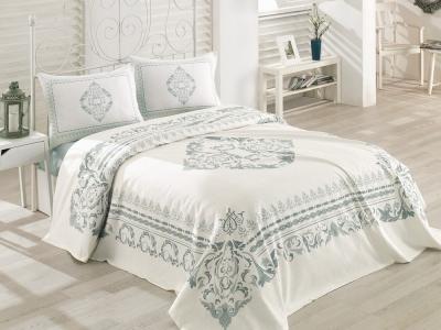 Постельное бельё с покрывалом ТМ Cotton Box ранфорс Lora Mint евро-размер