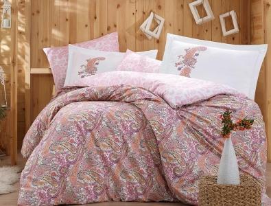 Постельное белье ТМ Hobby Poplin Giulia розовое евро-размер