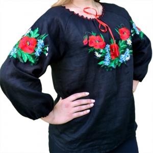 Женская вышиванка Волошка черная 1011.1