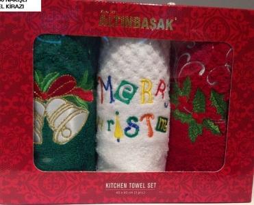 Набор полотенец кухонных с вышивкой ТМ Altinbasak 3 шт Noel kirazi 40x60