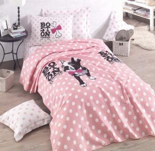 Подростковое постельное бельё Пике с покрывалом ТМ Eponj Home ранфорс Boston Pembe