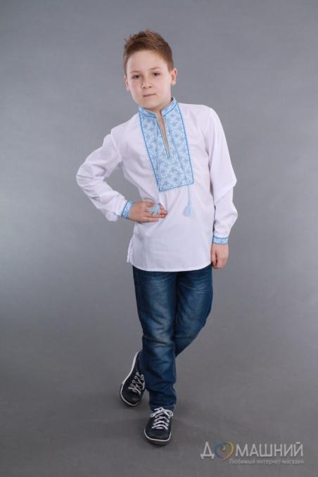 Вышиванка для мальчика 2006 синяя из льна