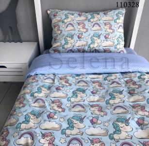 Подростковое постельное белье ТМ Selena бязь Единорожки 110328