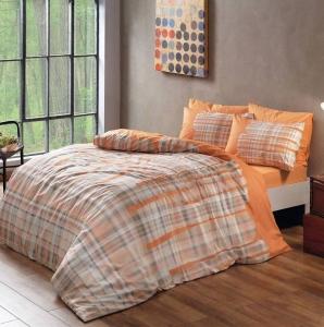 Постельное бельё ранфорс ТМ TAC Linens Davion Orange полуторное