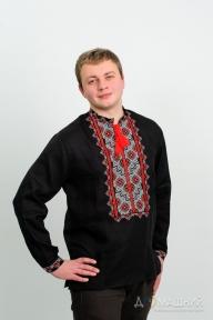 Вышиванка мужская чёрный лён с красной вышивкой 2004.1