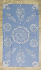 Полотенце пештемаль ТМ Cestepe Blue leaves 100х175