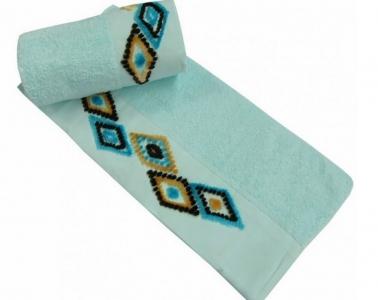 Полотенце с вышивкой ТМ Altinbasak Delux Tendora бирюзовое