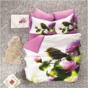 Постельное белье ТМ Luoca Patisca Sateen 3D Pink Nature евро-размер