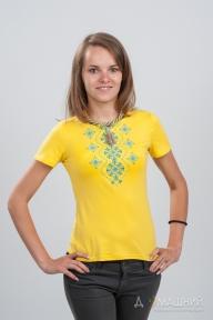 Вышитая футболка Орнамент желтая 1736