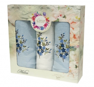 Набор полотенец из хлопка ТМ Gursan 3 шт Cotton Malina Blue