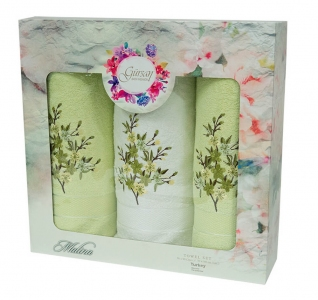 Набор полотенец из хлопка ТМ Gursan 3 шт Cotton Malina Green