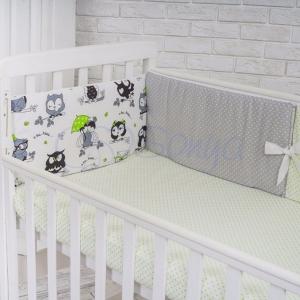 Бортик в кроватку с простыней ТМ Маленькая Соня Comfort совушки с зонтиком