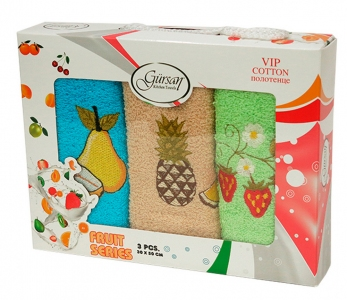 Набор полотенец кухонных 3шт ТМ Gursan фрукты 4 30х50
