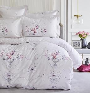Постельное белье ТМ Karaca Home сатин Roselina серый евро-размер