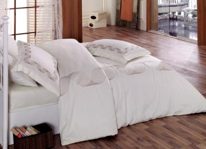Постельное бельё ТМ Cotton Box сатин с вышивкой Remember Beyaz евро-размер