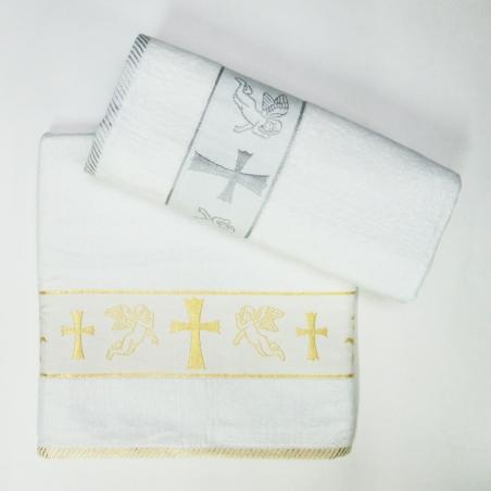 Полотенца махровые Турция крестильная-крыжма с ангелом, золото/серебро