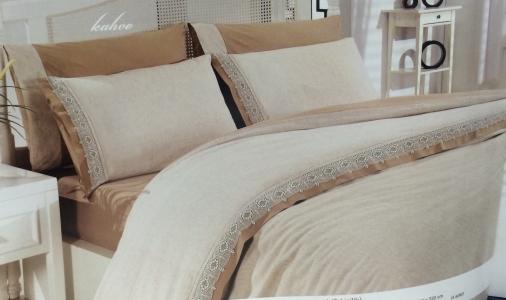 Постельное белье ТМ Altinbasak сатин лён евро-размер Cream