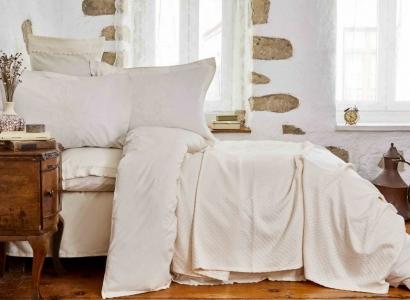 Постельное белье с пледом ТМ Karaca Home Julita Bej евро-размер