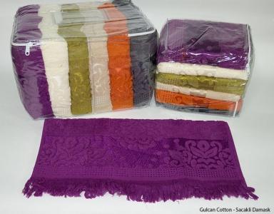 Набор полотенец из 6 штук ТМ Gulcan Sacakli Delux Cotton Damask