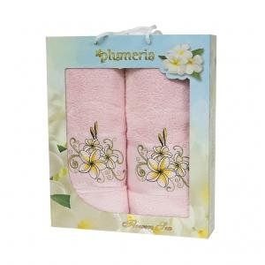 Набор хлопковых полотенец Turkiz Plumeria розовый 2 шт