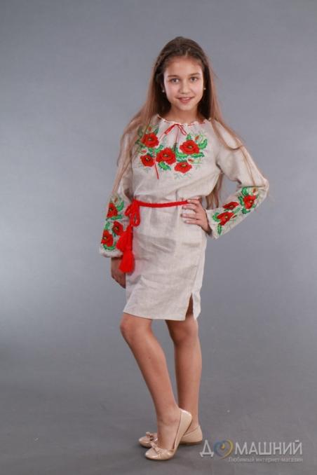 Вышиванка для девочки Мак укроп серый лен