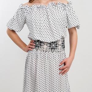 Платье длинное Юность 1504 белое в горошек