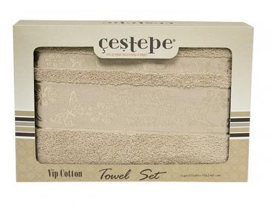 Набор полотенец из 2 штук ТМ Cestepe VIP Cotton бежевый