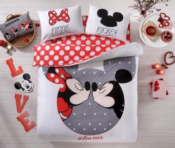 Постельное бельё ранфорс ТМ TAC Mickey & Minnie евро-размер