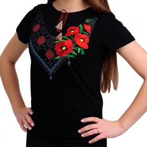 Вышитая футболка комбинированная чёрная 1721