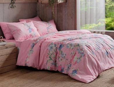 Постельное белье ТМ TAC ранфорс Fleur Pink евро-размер