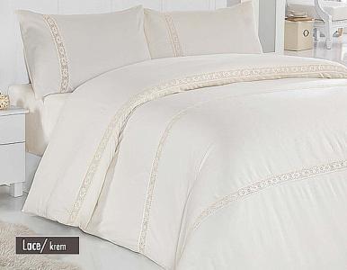 Постельное белье ТМ Altinbasak сатин люкс с кружевом евро-размер Lace cream