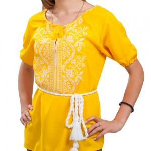 Женская вышиванка Волна желто-белая 1012