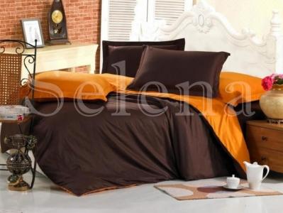 Постельное белье ТМ Selena поплин Шоколадно-Оранжевый