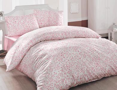 Постельное белье ТМ TAC Brielle ранфорс 801 V2 Pink евро-размер